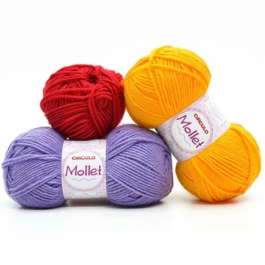 Lã Mollet Cores Lisas 100g 01