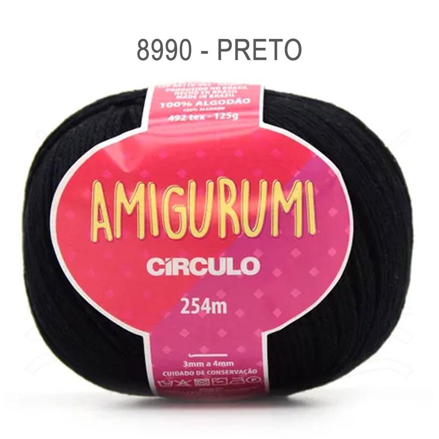 Linha Amigurumi 254m - Circulo - 8990 - Preto