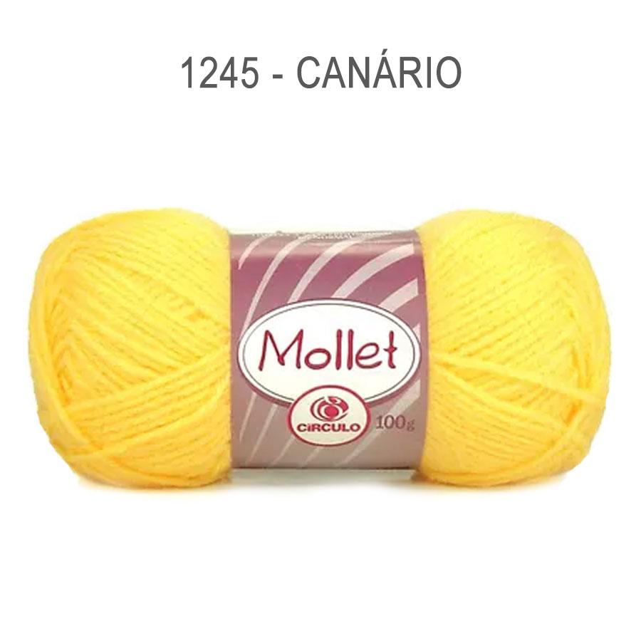 Lã Mollet 100g Cores Lisas - Circulo - 1245 - Canário