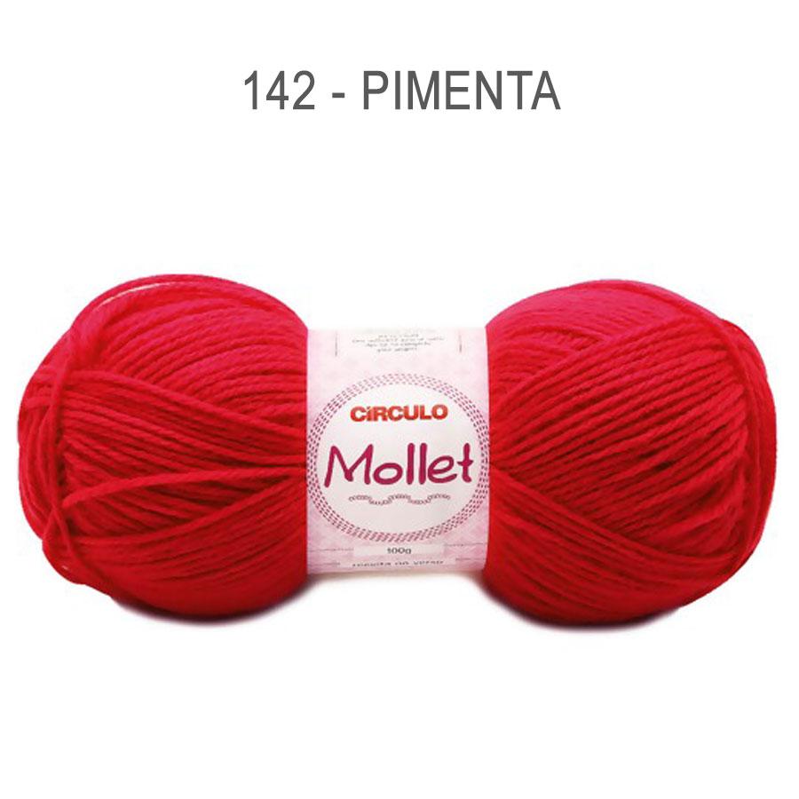 Lã Mollet 100g Cores Lisas - Circulo - 142 - Pimenta
