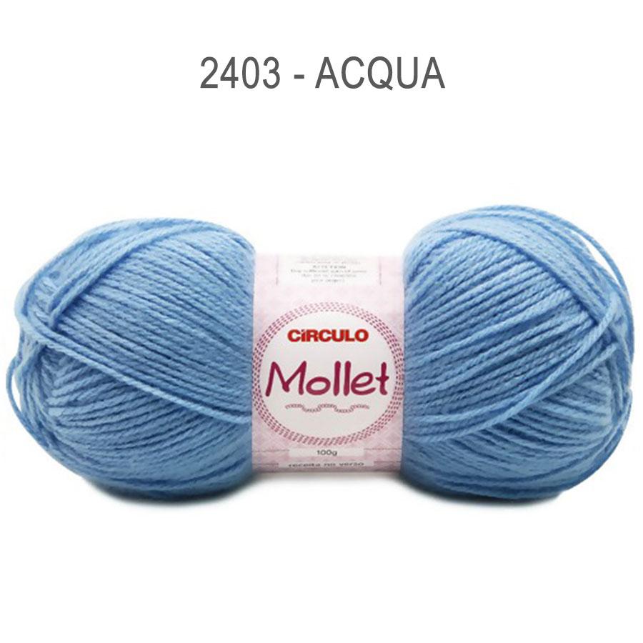 Lã Mollet 100g Cores Lisas - Circulo - 2403 - Acqua
