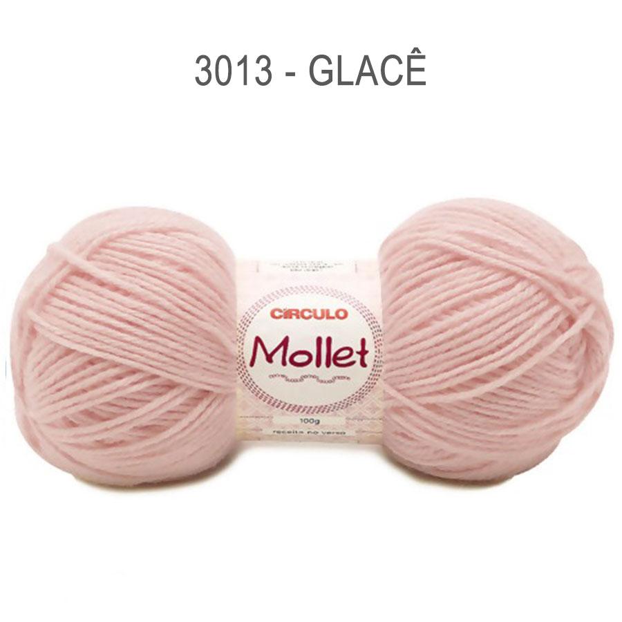 Lã Mollet 100g Cores Lisas - Circulo - 3013 - Glacê