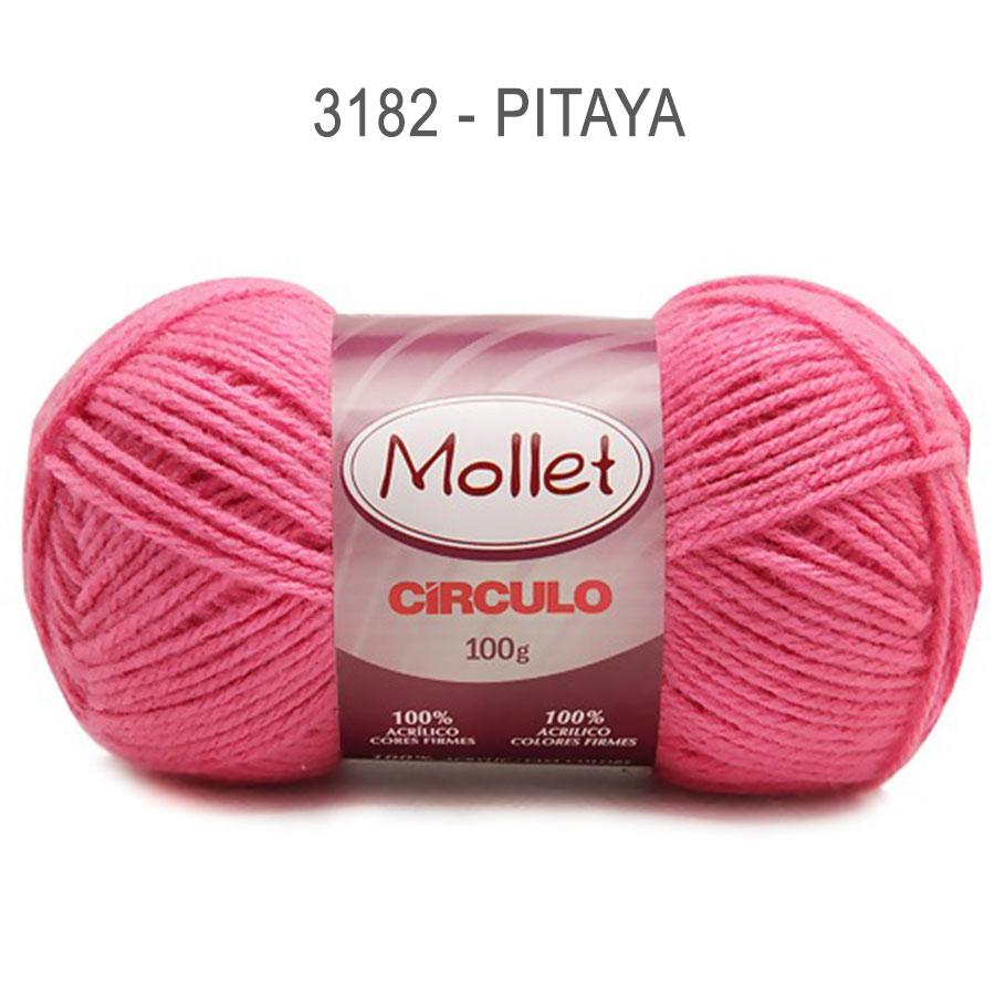 Lã Mollet 100g Cores Lisas - Circulo - 3182 - Pitaya