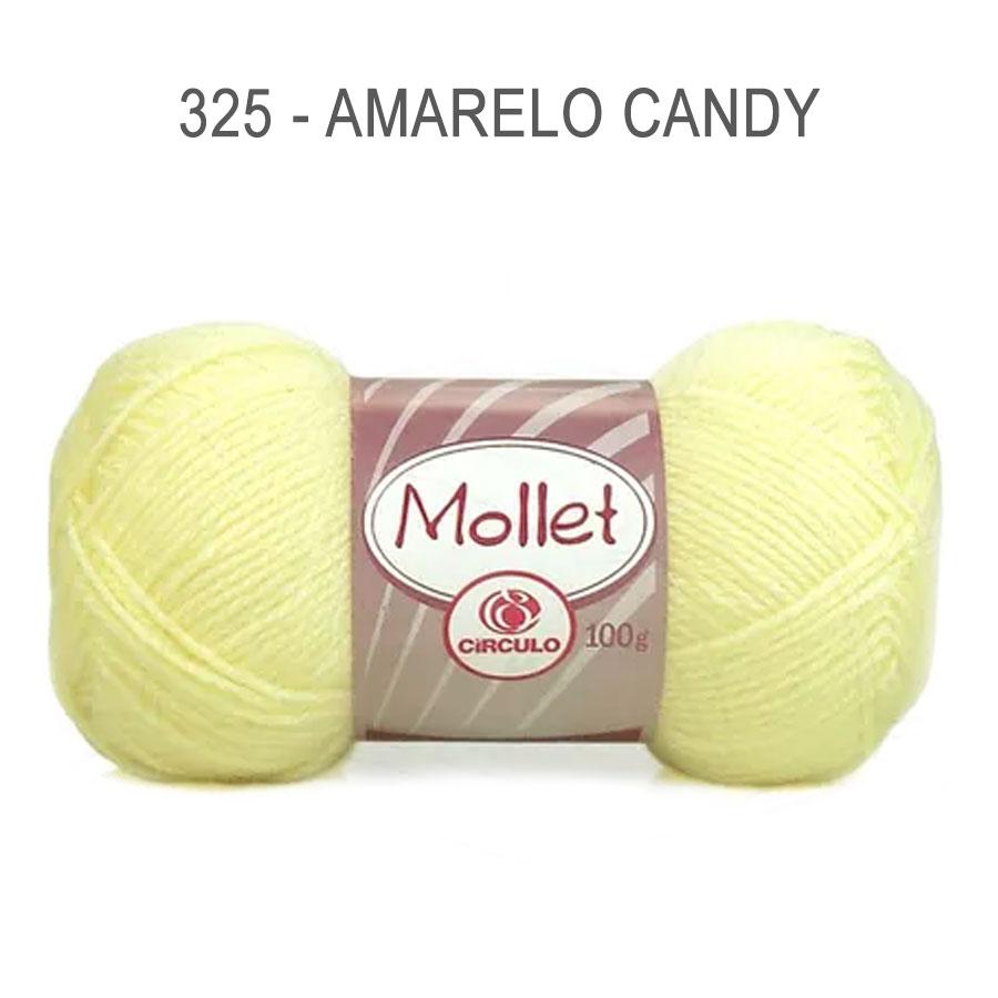 Lã Mollet 100g Cores Lisas - Circulo - 325 - Amarelo Candy