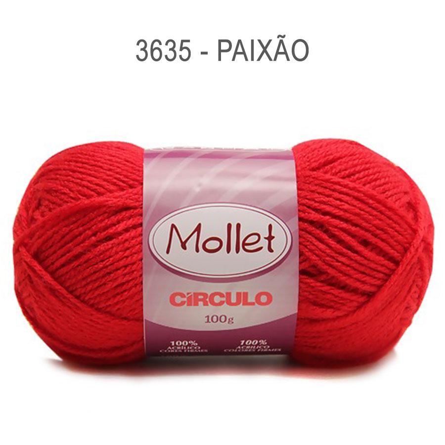 Lã Mollet 100g Cores Lisas - Circulo - 3635 - Paixão