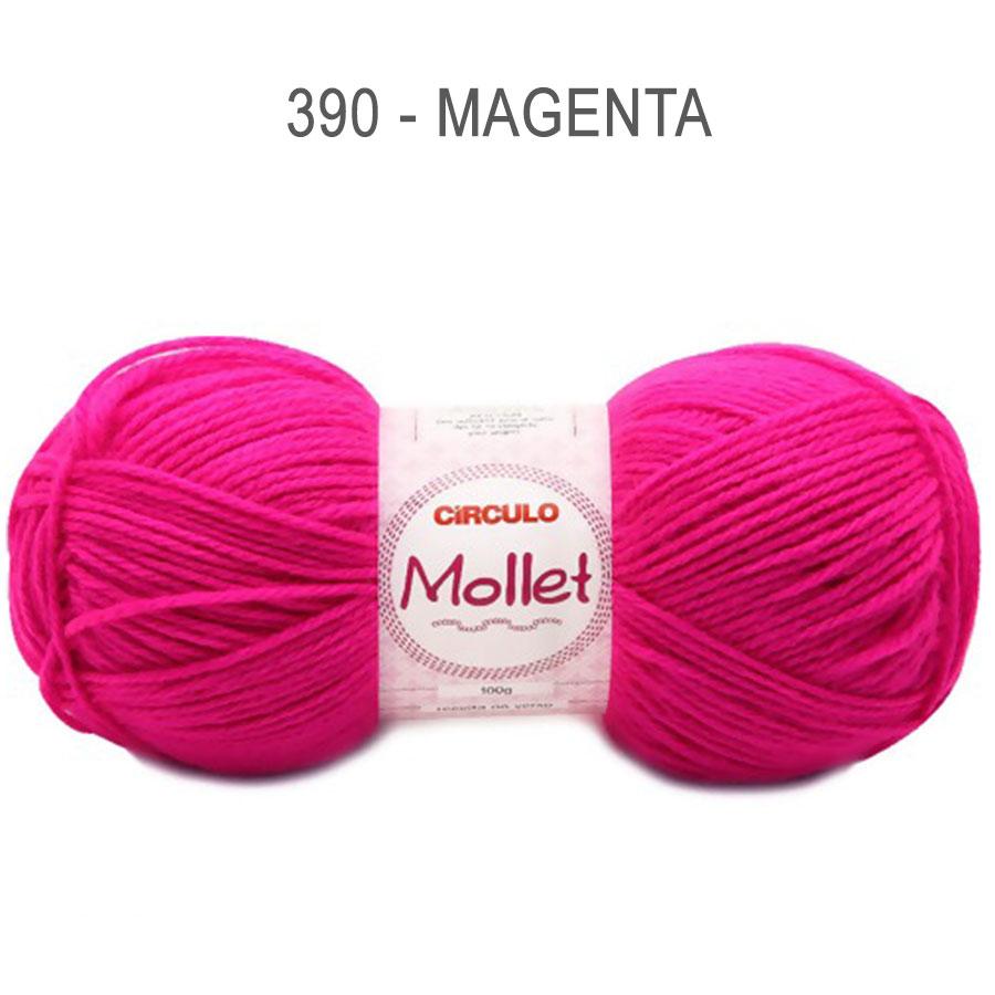 Lã Mollet 100g Cores Lisas - Circulo - 390 - Magenta