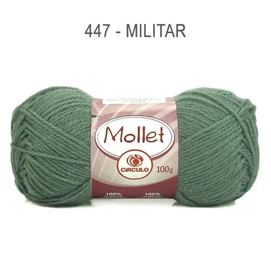 Lã Mollet 100g Cores Lisas - Circulo - 447 - Militar