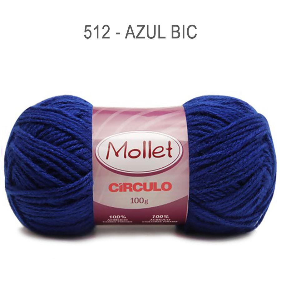 Lã Mollet 100g Cores Lisas - Circulo - 512 - Azul Bic