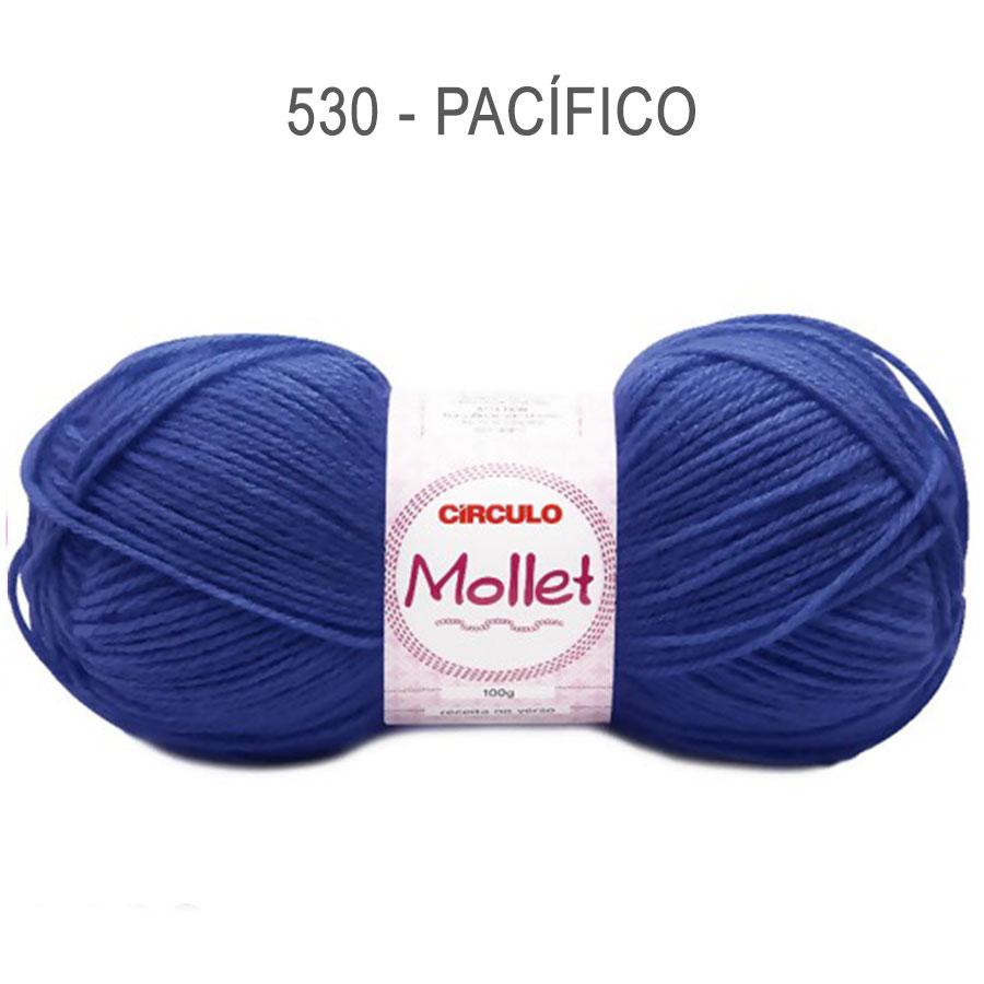 Lã Mollet 100g Cores Lisas - Circulo - 530 - Pacífico
