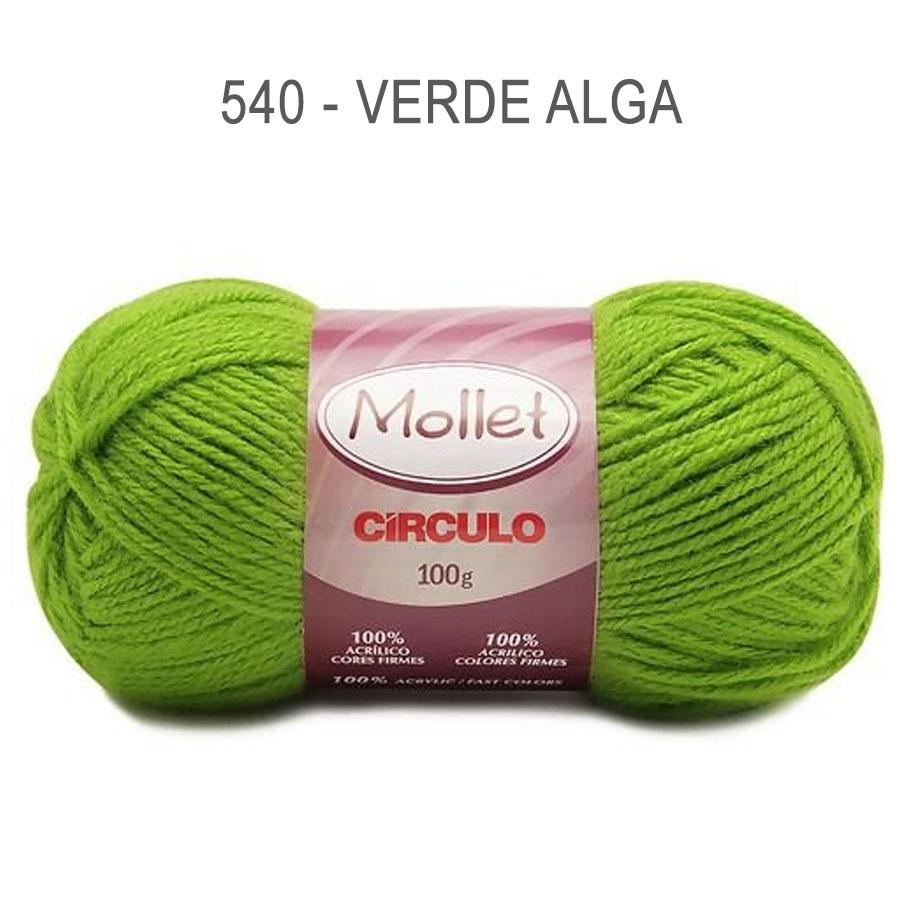 Lã Mollet 100g Cores Lisas - Circulo - 540 - Verde Alga