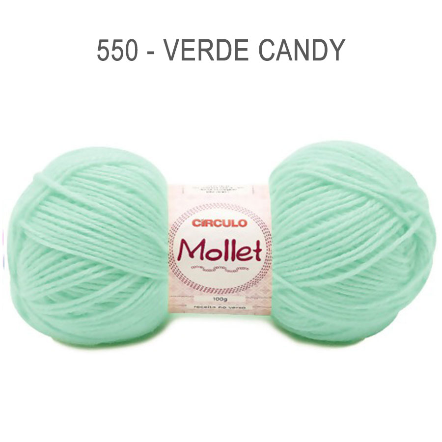 Lã Mollet 100g Cores Lisas - Circulo - 550 - Verde Candy