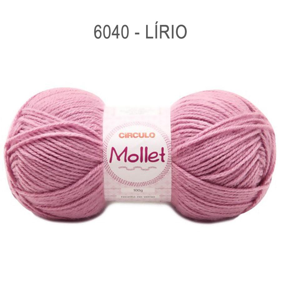 Lã Mollet 100g Cores Lisas - Circulo - 6040 - Lírio
