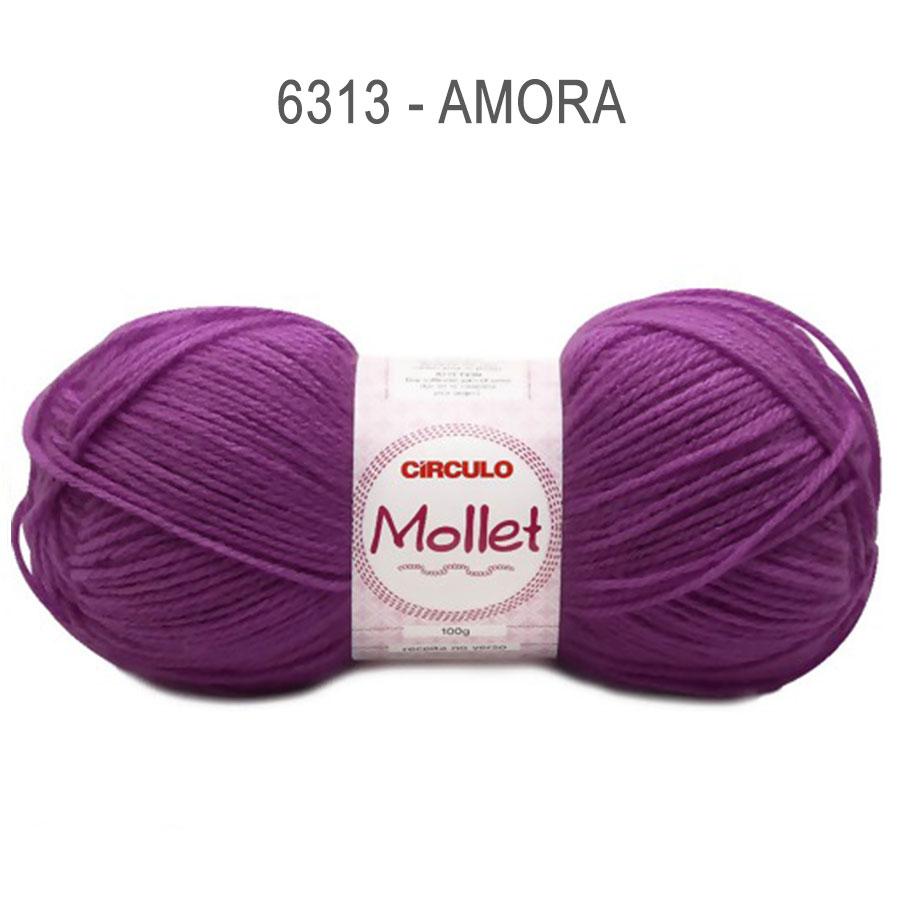 Lã Mollet 100g Cores Lisas - Circulo - 6313 - Amora