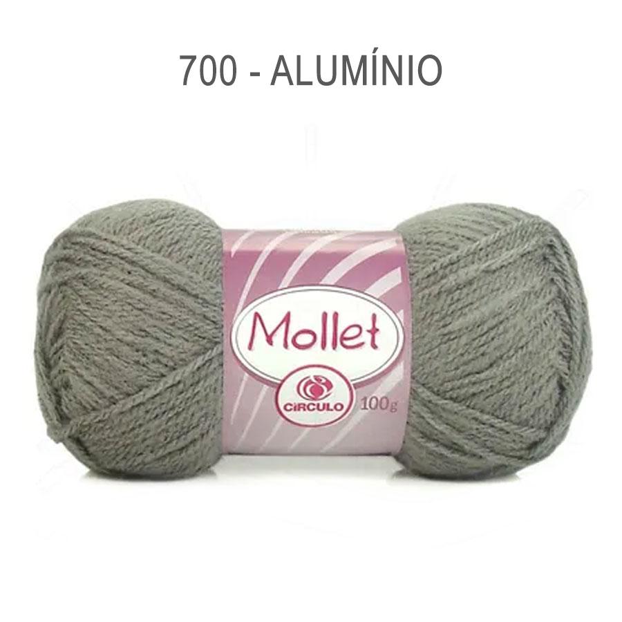 Lã Mollet 100g Cores Lisas - Circulo - 700 - Alumínio