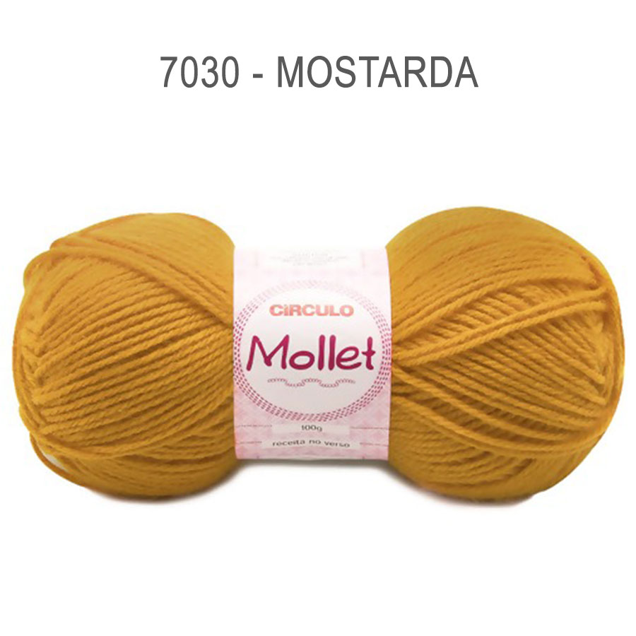 Lã Mollet 100g Cores Lisas - Circulo - 7030 - Mostarda
