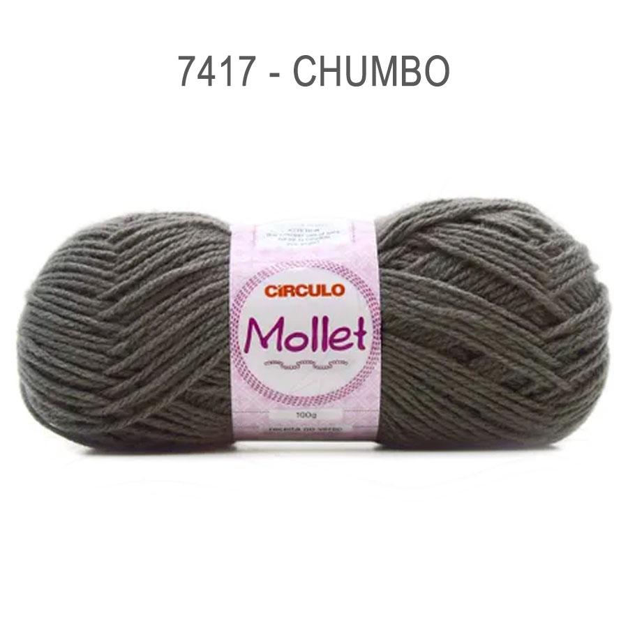 Lã Mollet 100g Cores Lisas - Circulo - 7417 - Chumbo