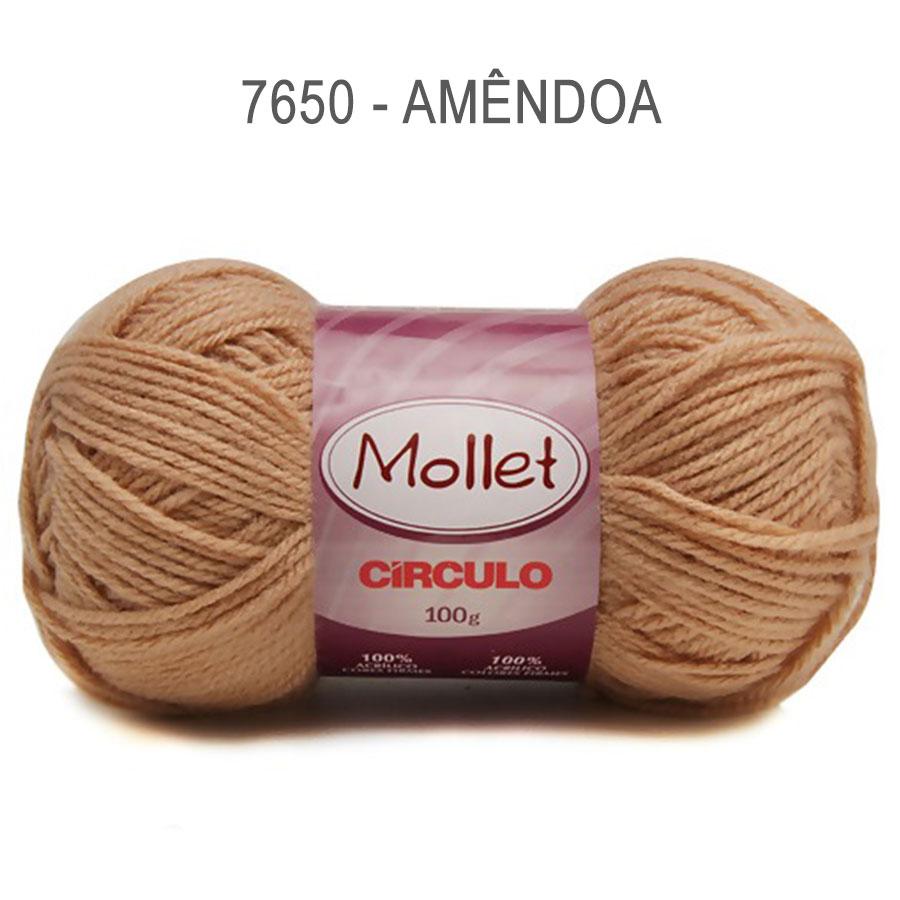 Lã Mollet 100g Cores Lisas - Circulo - 7650 - Amêndoa
