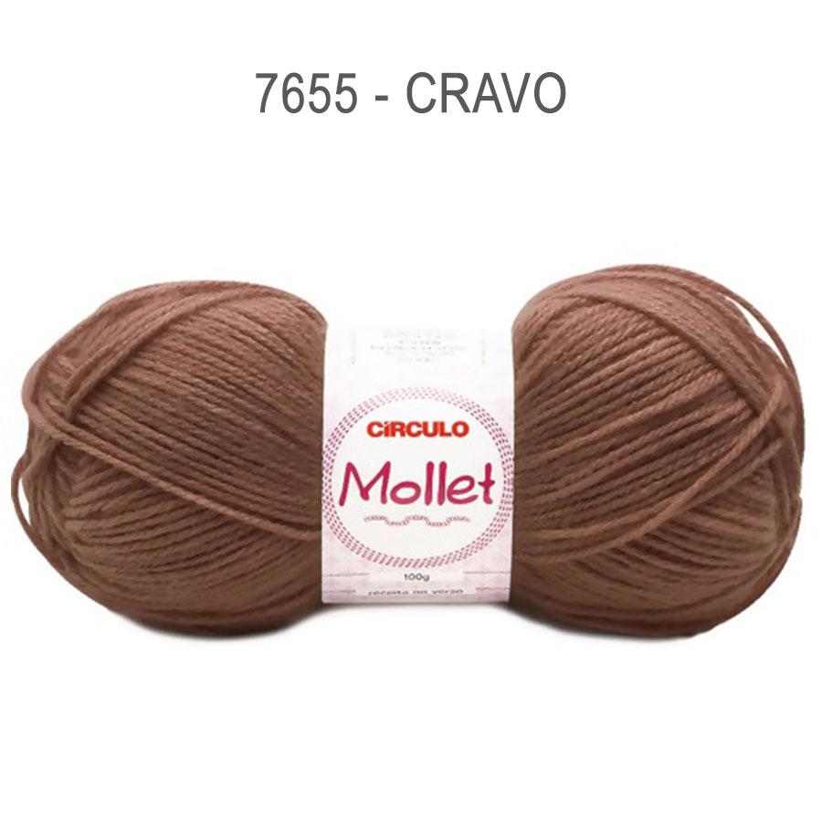 Lã Mollet 100g Cores Lisas - Circulo - 7655 - Cravo