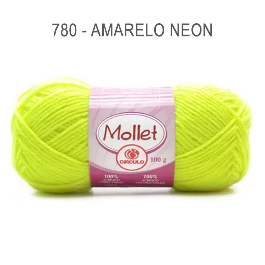 Lã Mollet 100g Cores Lisas - Circulo - 780 - Amarelo Neon