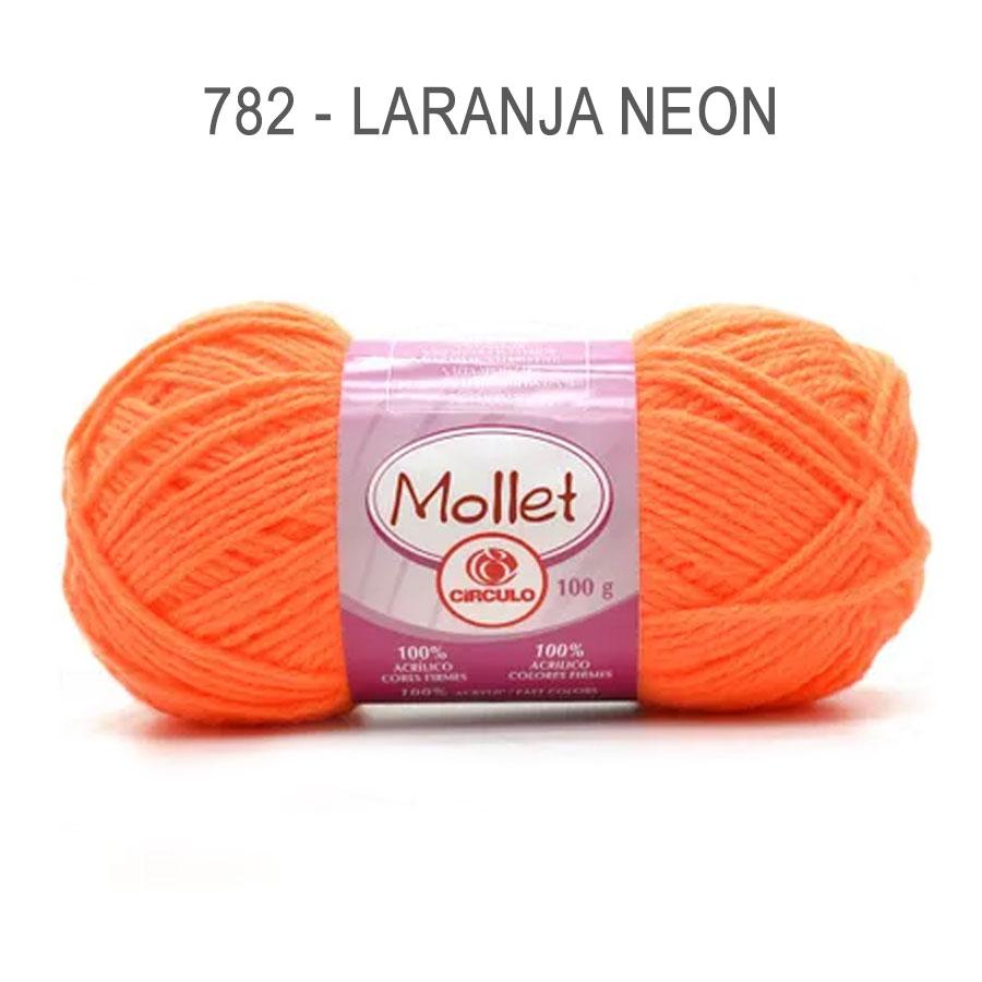 Lã Mollet 100g Cores Lisas - Circulo - 782 - Laranja Neon