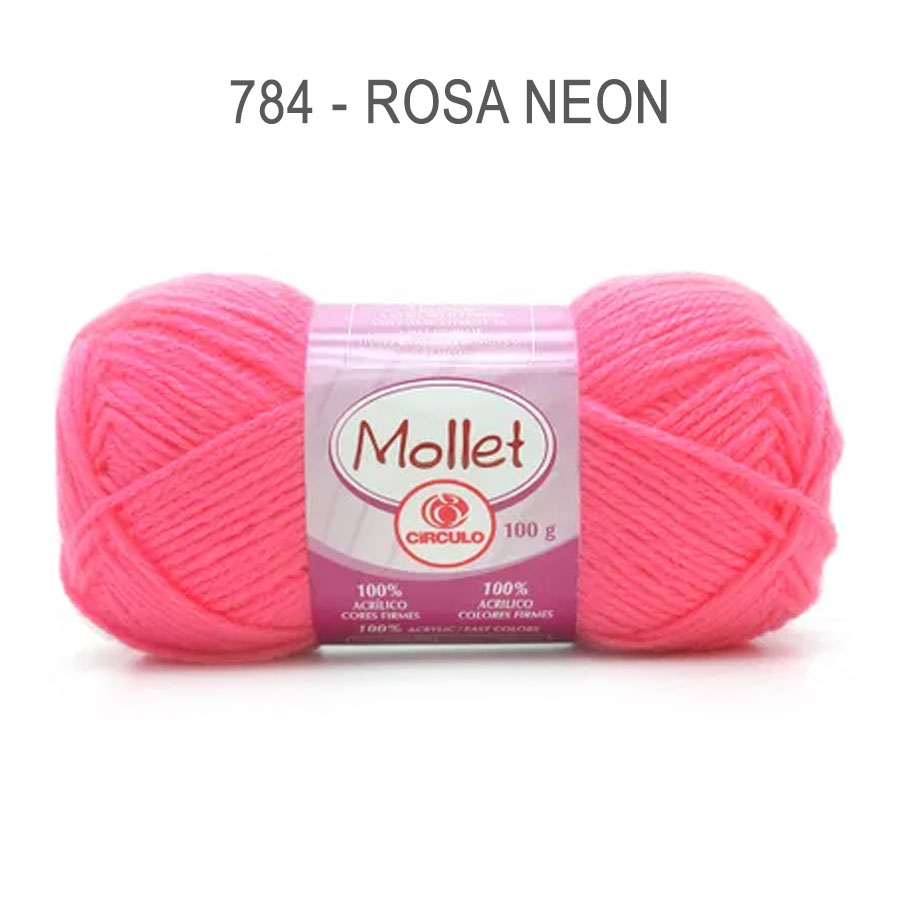 Lã Mollet 100g Cores Lisas - Circulo - 784 - Rosa Neon