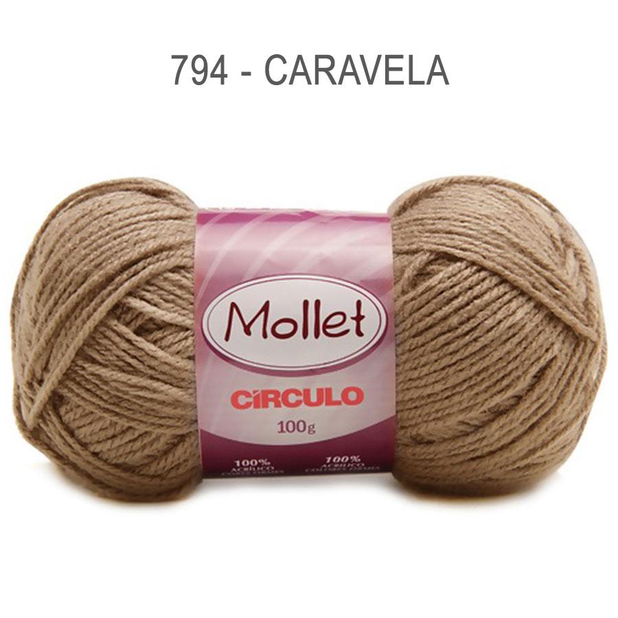 Lã Mollet 100g Cores Lisas - Circulo - 794 - Caravela