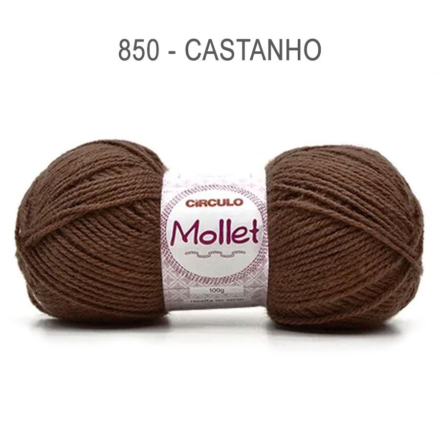 Lã Mollet 100g Cores Lisas - Circulo - 850 - Castanho