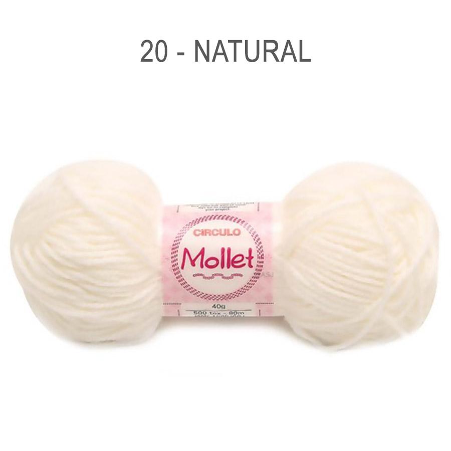Lã Mollet 40g Cores Lisas - Circulo - 20 - Natural