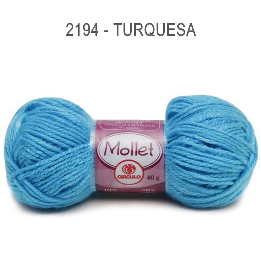Lã Mollet 40g Cores Lisas - Circulo - 2194 - Turquesa