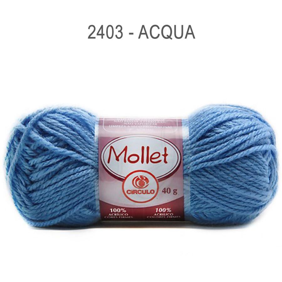 Lã Mollet 40g Cores Lisas - Circulo - 2403 - Acqua