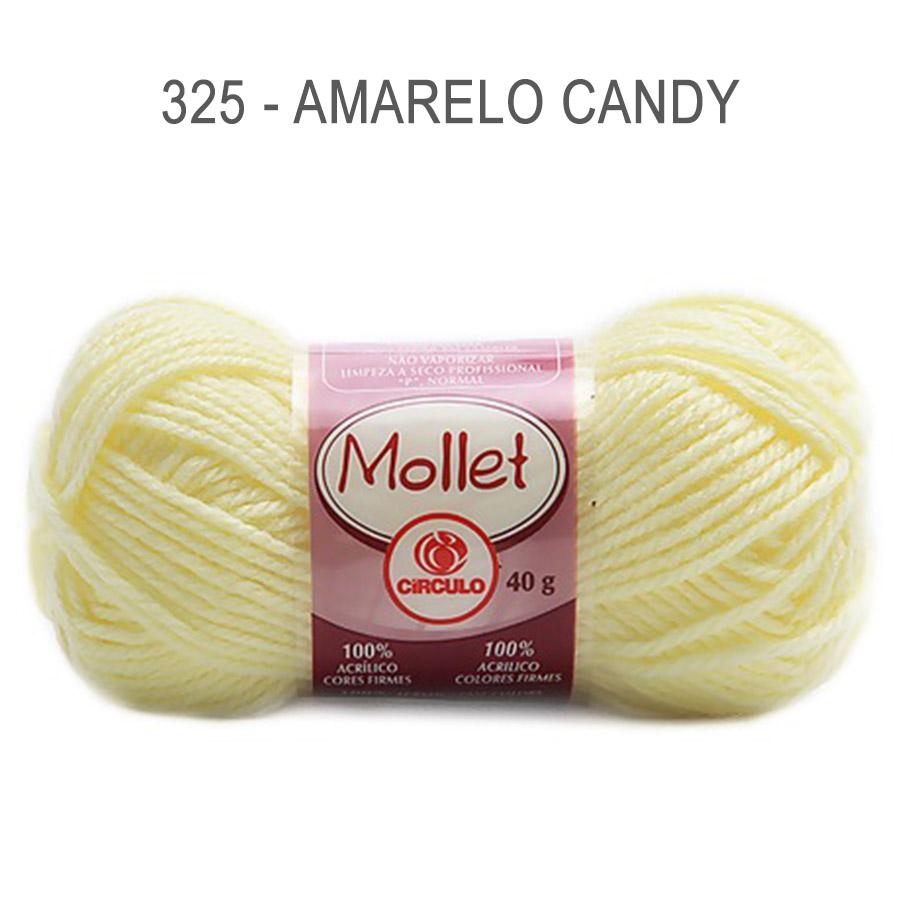 Lã Mollet 40g Cores Lisas - Circulo - 325 - Amarelo Candy