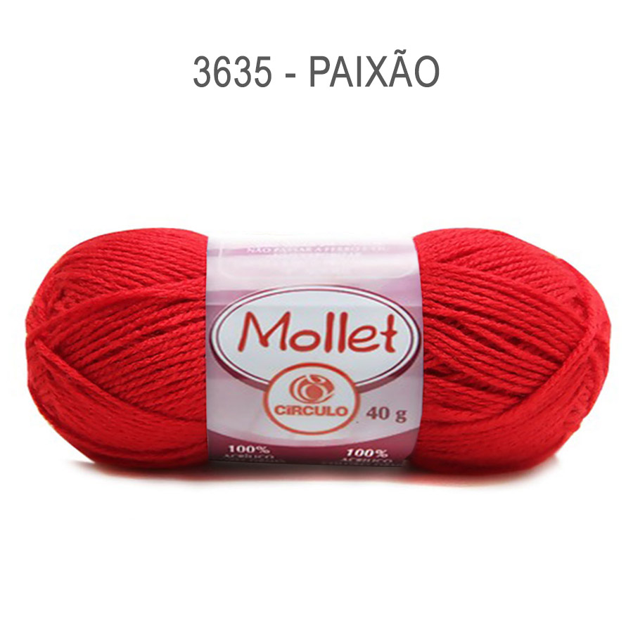 Lã Mollet 40g Cores Lisas - Circulo - 3635 - Paixão
