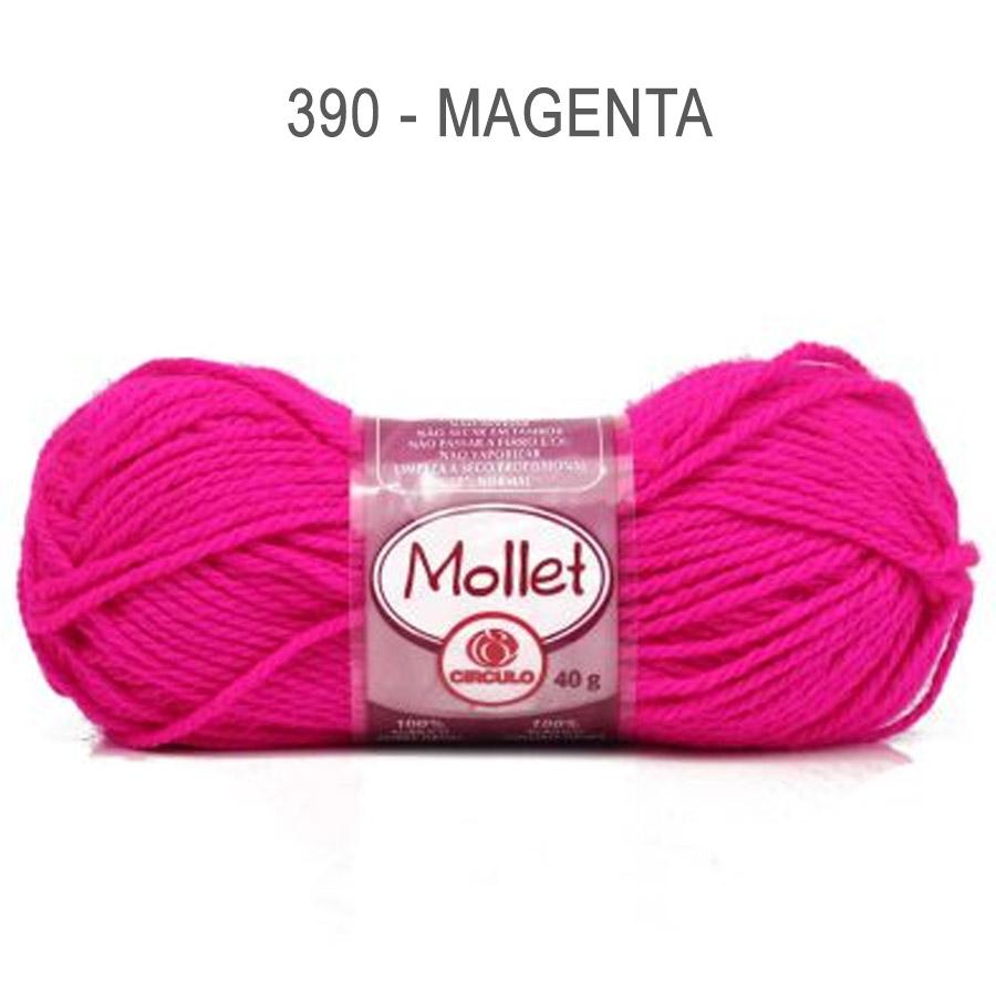 Lã Mollet 40g Cores Lisas - Circulo - 390 - Magenta
