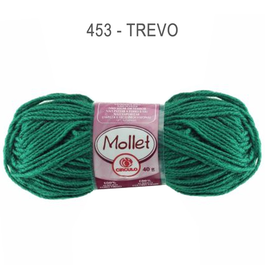 Lã Mollet 40g Cores Lisas - Circulo - 453 - Trevo
