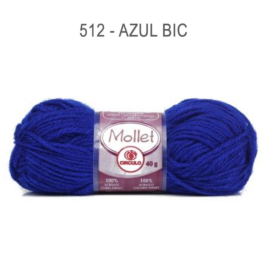 Lã Mollet 40g Cores Lisas - Circulo - 512 - Azul Bic