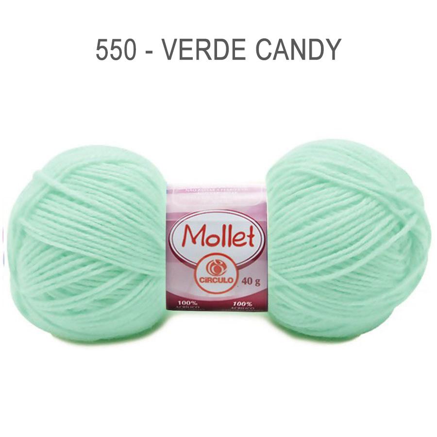 Lã Mollet 40g Cores Lisas - Circulo - 550 - Verde Candy