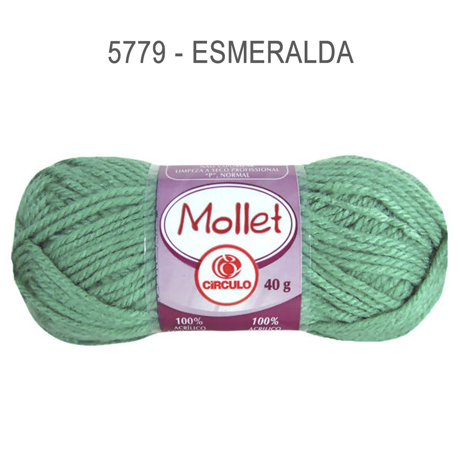 Lã Mollet 40g Cores Lisas - Circulo - 5779 - Esmeralda