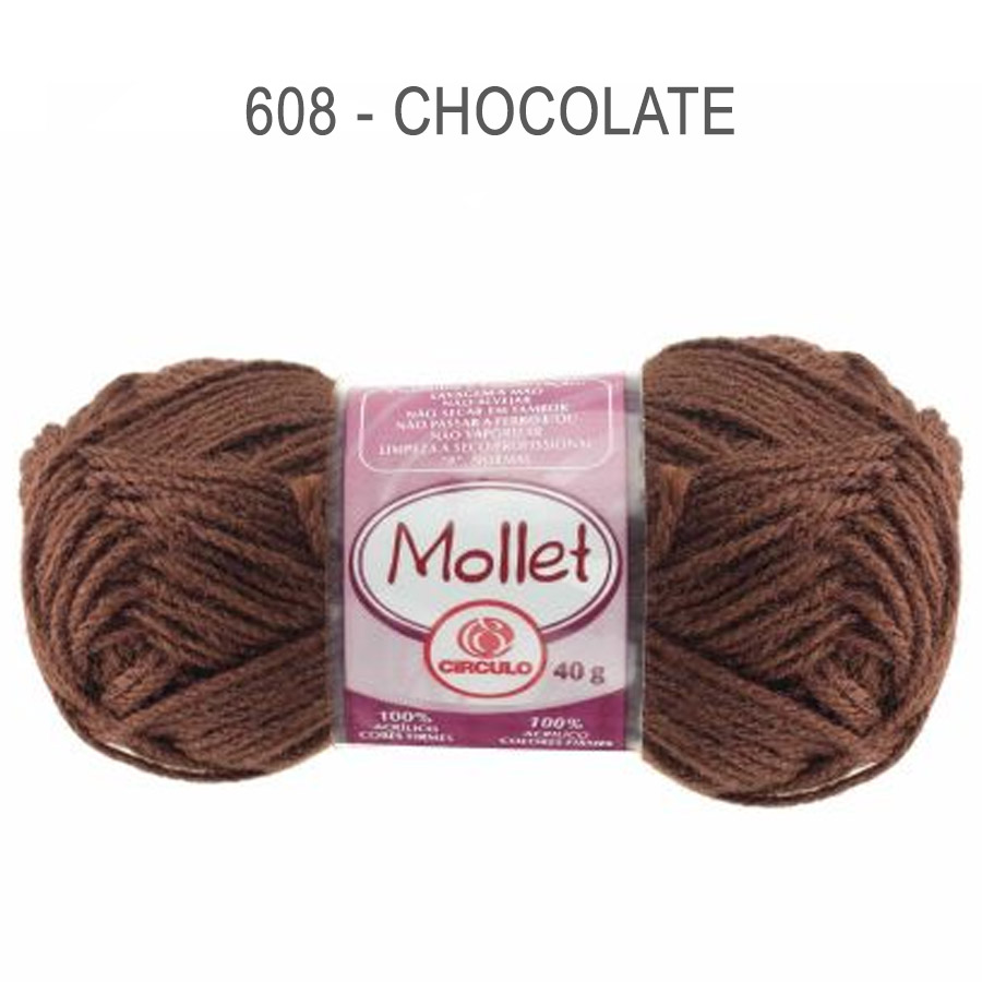 Lã Mollet 40g Cores Lisas - Circulo - 608 - Chocolate