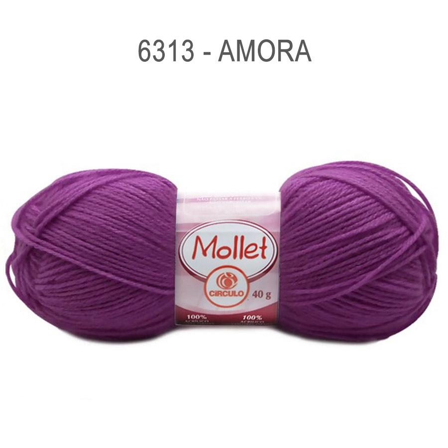 Lã Mollet 40g Cores Lisas - Circulo - 6313 - Amora