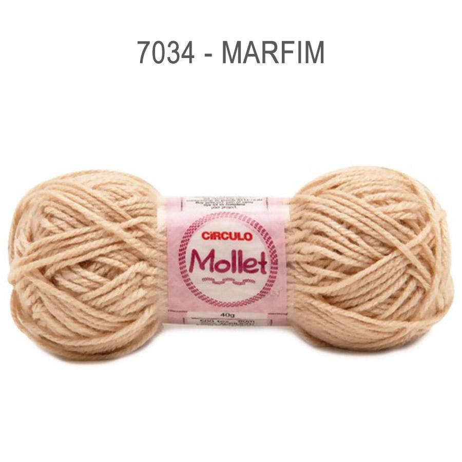 Lã Mollet 40g Cores Lisas - Circulo - 7034 - Marfim