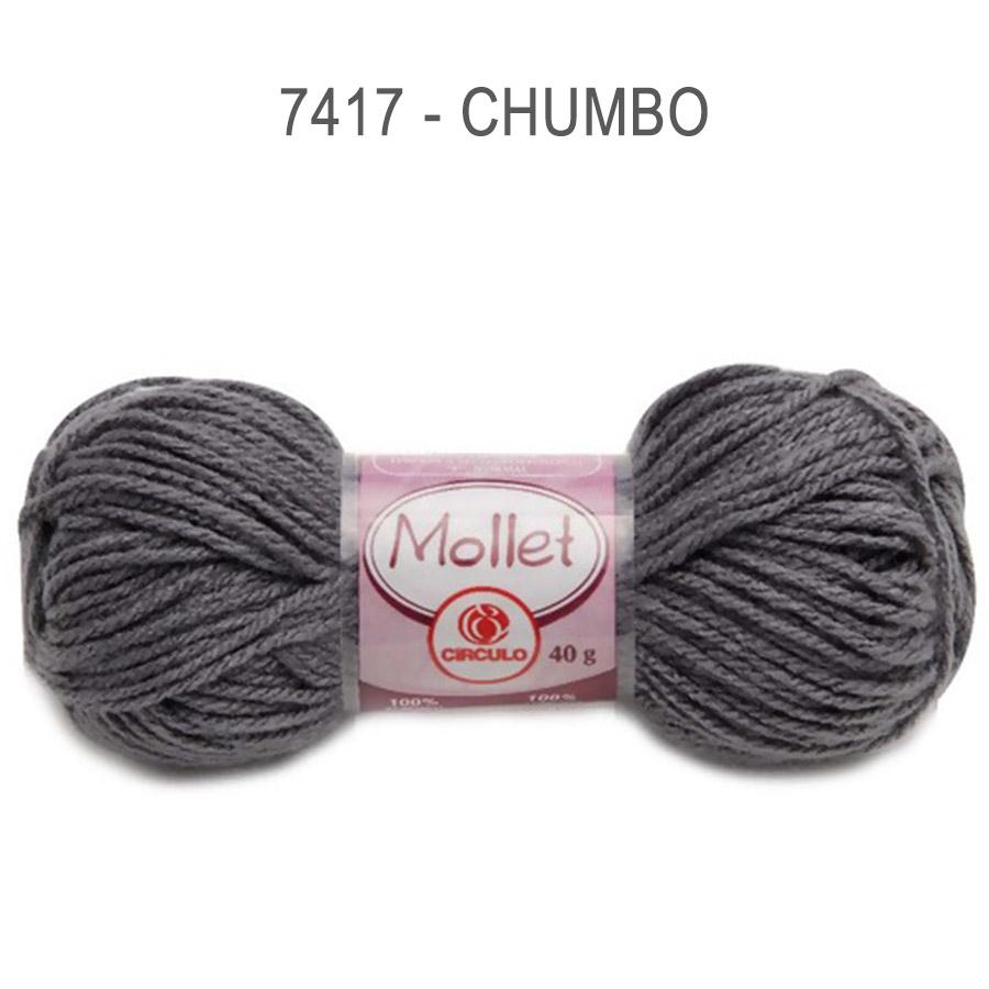 Lã Mollet 40g Cores Lisas - Circulo - 7417 - Chumbo