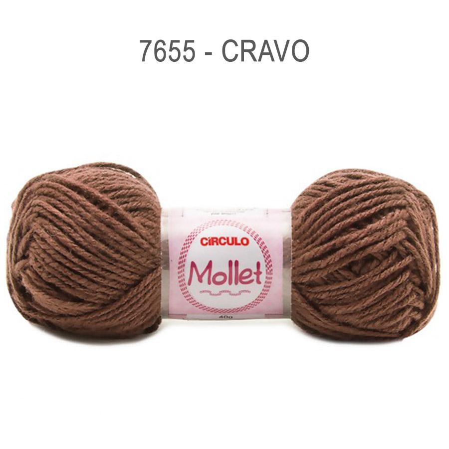 Lã Mollet 40g Cores Lisas - Circulo - 7655 - Cravo