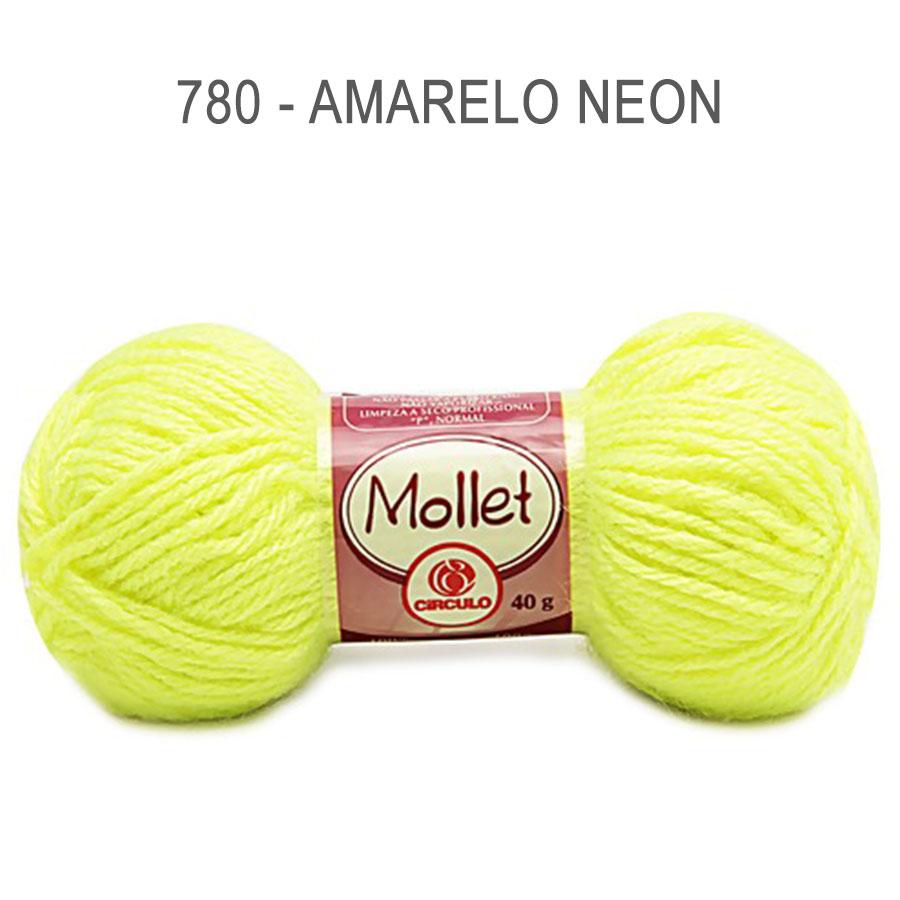 Lã Mollet 40g Cores Lisas - Circulo - 780 - Amarelo Neon