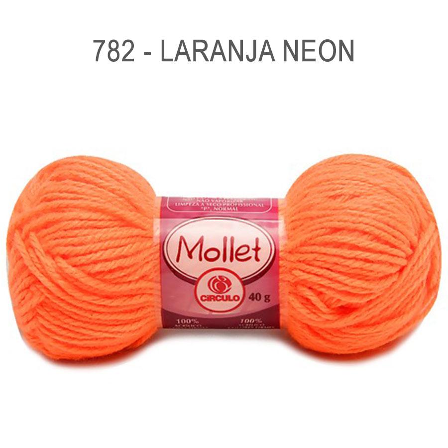 Lã Mollet 40g Cores Lisas - Circulo - 782 - Laranja Neon