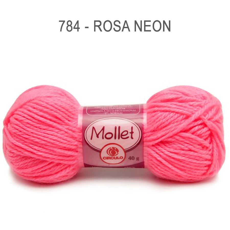 Lã Mollet 40g Cores Lisas - Circulo - 784 - Rosa Neon