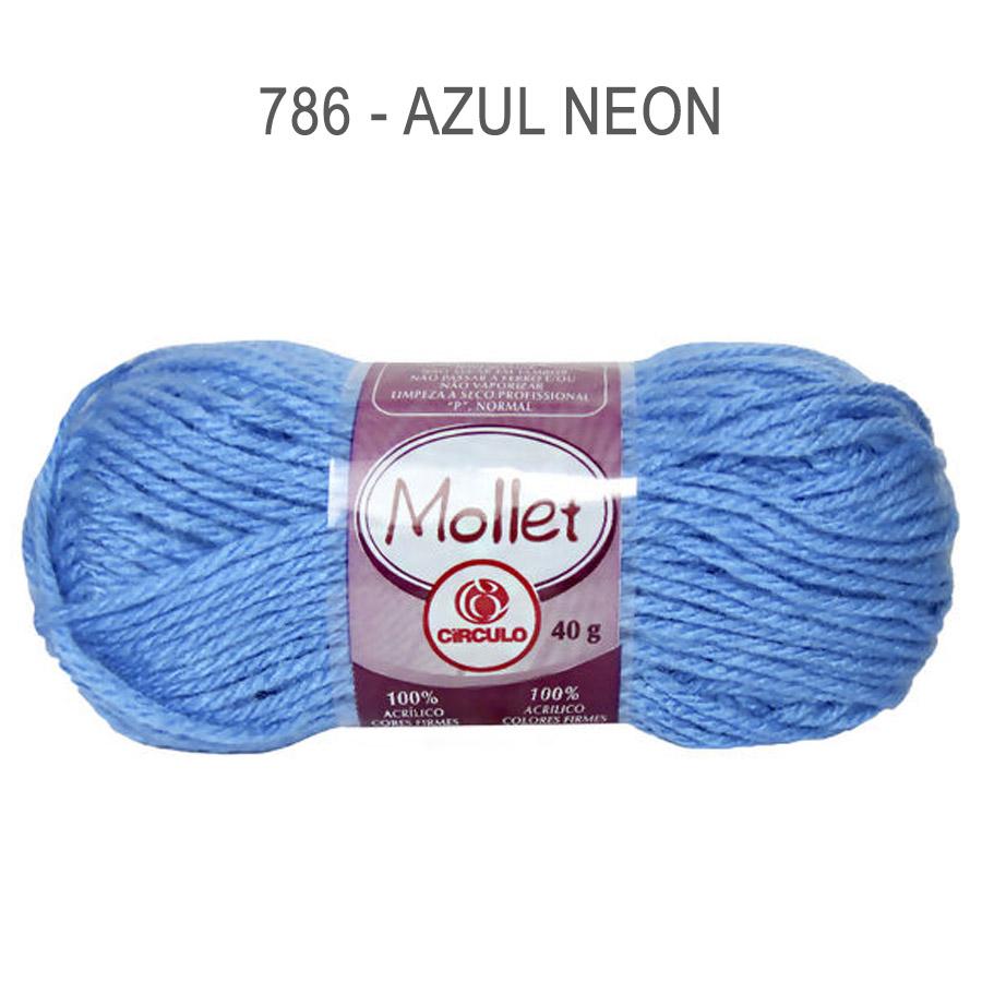 Lã Mollet 40g Cores Lisas - Circulo - 786 - Azul Neon