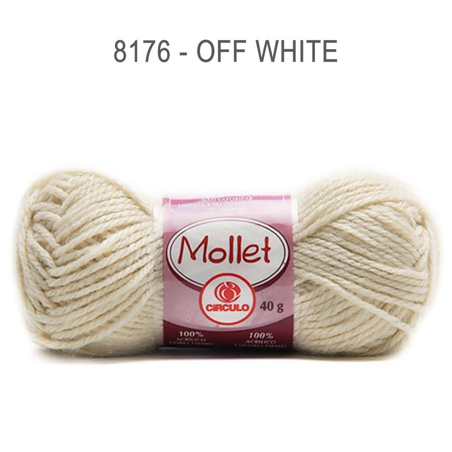 Lã Mollet 40g Cores Lisas - Circulo - 8176 - Off-White