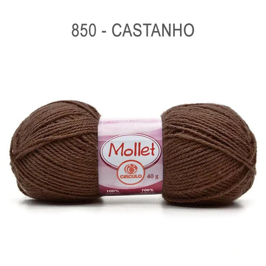 Lã Mollet 40g Cores Lisas - Circulo - 850 - Castanho