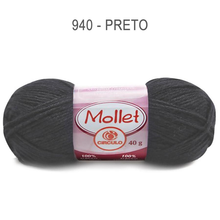 Lã Mollet 40g Cores Lisas - Circulo - 940 - Preto