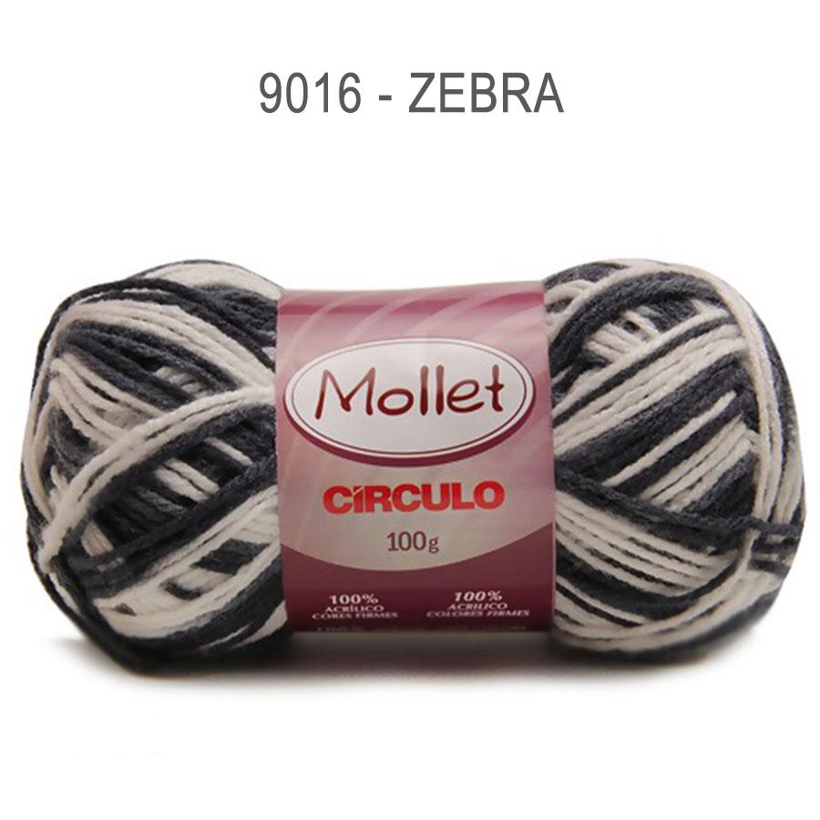 Lã Mollet 100g Multicolor - Circulo - 9016 - Zebra